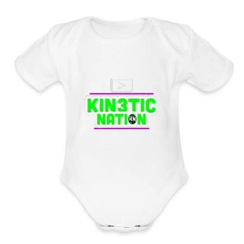 Green Kin3ticNation logo - Organic Short Sleeve Baby Bodysuit