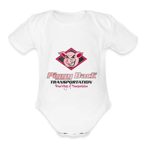 PiggyBack Transportation Logo - Organic Short Sleeve Baby Bodysuit