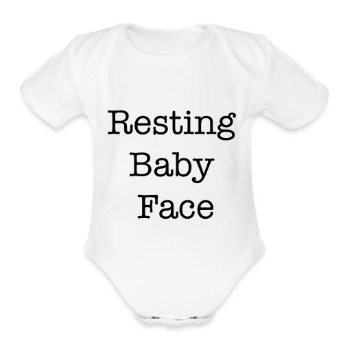 Resting Baby Face Baby Shower - Organic Short Sleeve Baby Bodysuit