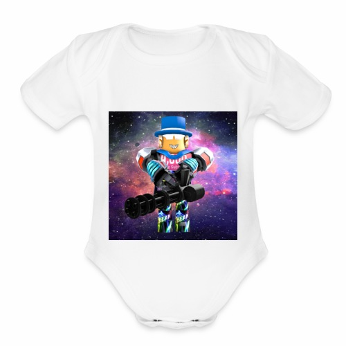 sean roblox character with minigun - Organic Short Sleeve Baby Bodysuit
