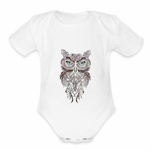 tatouage ephemere hibou tribal - Short Sleeve Baby Bodysuit