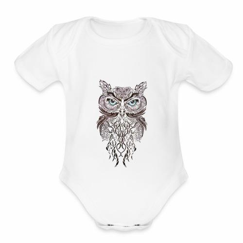 tatouage ephemere hibou tribal - Organic Short Sleeve Baby Bodysuit
