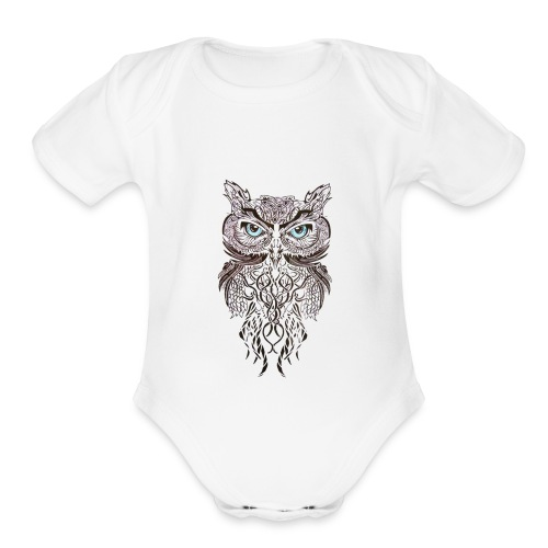 tatouage ephemere hibou tribal - Organic Short Sleeve Baby Bodysuit