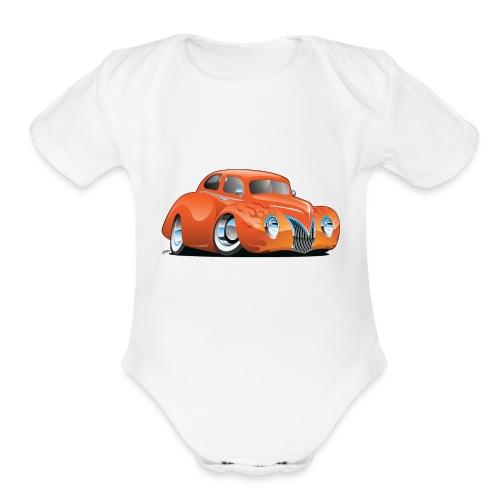 Custom Street Rod Vintage Car Cartoon - Organic Short Sleeve Baby Bodysuit