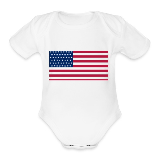 usa flag - Organic Short Sleeve Baby Bodysuit
