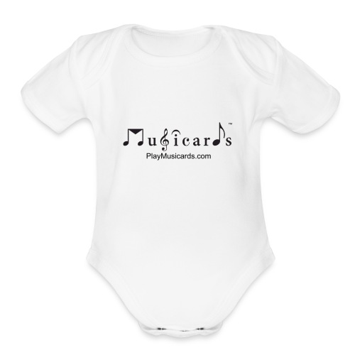 Musicards logo and website - Organic Short Sleeve Baby Bodysuit