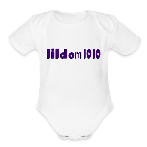 lildom 1010 purple and bLACK - Organic Short Sleeve Baby Bodysuit