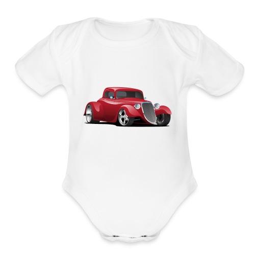 Custom American Red Hot Rod Car - Organic Short Sleeve Baby Bodysuit