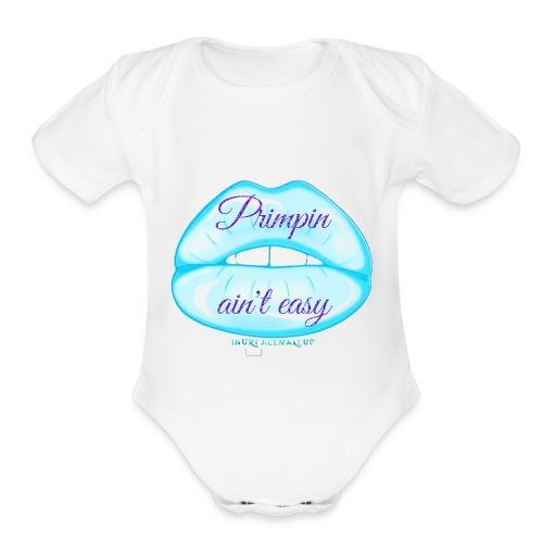 Blue Glitter Pimpin Ain't Easy - Organic Short Sleeve Baby Bodysuit