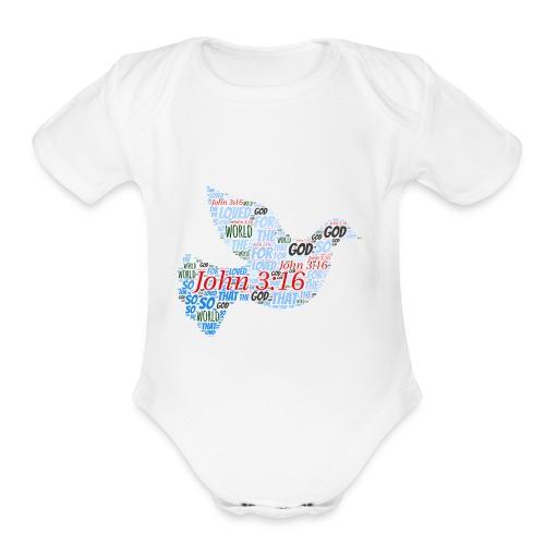 John3 16 - Organic Short Sleeve Baby Bodysuit