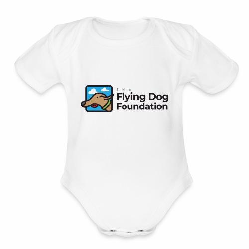 Flying Dog Black Font - Organic Short Sleeve Baby Bodysuit
