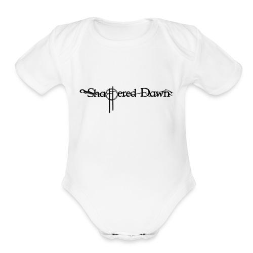 Shattered Dawn Black Logo - Organic Short Sleeve Baby Bodysuit