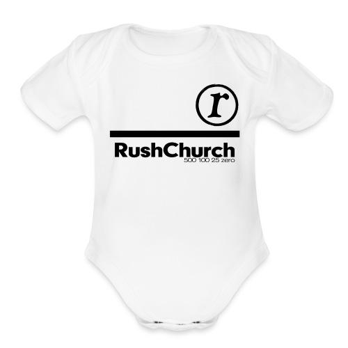 RushChurch Black - Organic Short Sleeve Baby Bodysuit