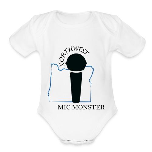 NorthWest Mic Monster Black - Organic Short Sleeve Baby Bodysuit