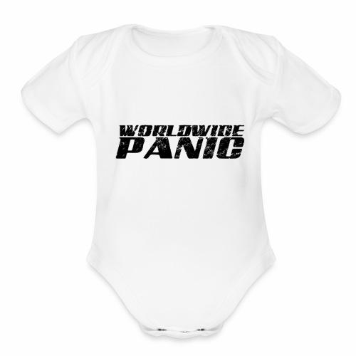 Worldwide Panic Logo Black - Organic Short Sleeve Baby Bodysuit