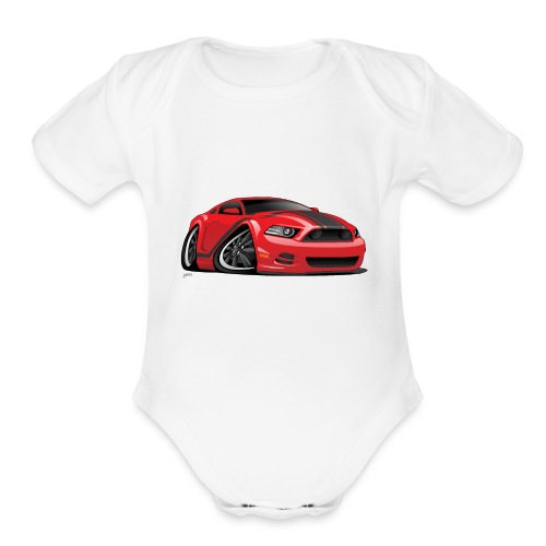 American Muscle Car Cartoon Illustration - Organic Short Sleeve Baby Bodysuit