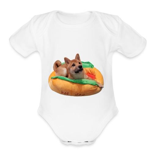 hot doge - Organic Short Sleeve Baby Bodysuit