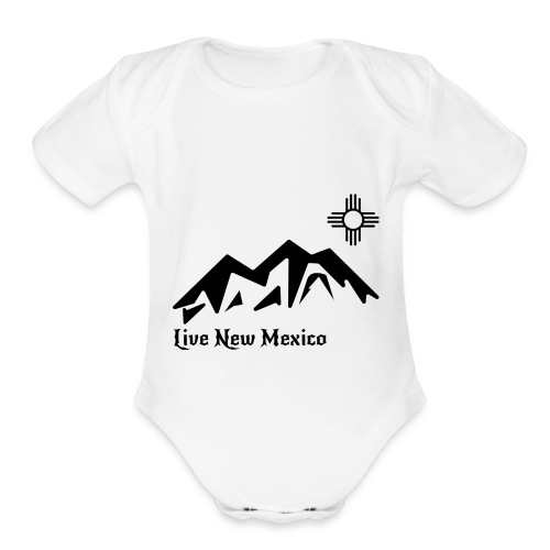 Live New Mexico logo - Organic Short Sleeve Baby Bodysuit