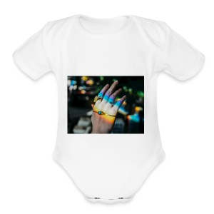 COLOR MY WORLD WITH MY HEART IN YOUR HAND X - Short Sleeve Baby Bodysuit