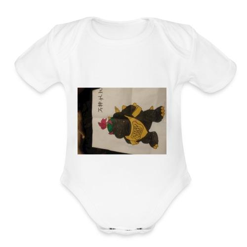 Black Bowser jr. gangster - Organic Short Sleeve Baby Bodysuit