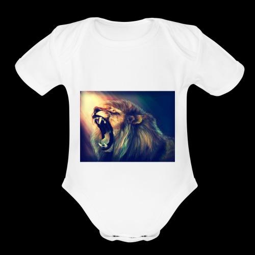 Lion Hoodie - Organic Short Sleeve Baby Bodysuit