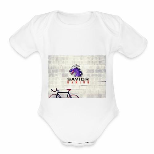Savior Gaming Logo - Organic Short Sleeve Baby Bodysuit