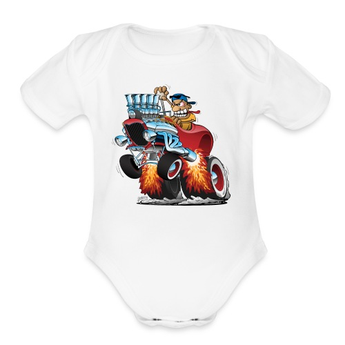 Highboy Hot Rod Race Car Cartoon - Organic Short Sleeve Baby Bodysuit
