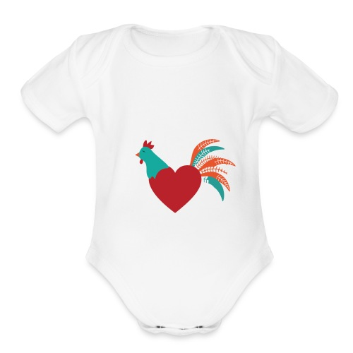 Chicken Heart - Organic Short Sleeve Baby Bodysuit