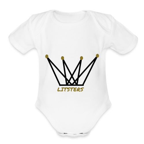 LITSTERS crown logo 1 - Organic Short Sleeve Baby Bodysuit
