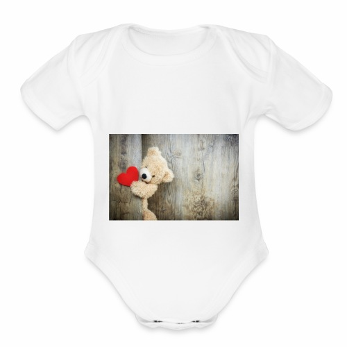 Heart Bear - Organic Short Sleeve Baby Bodysuit