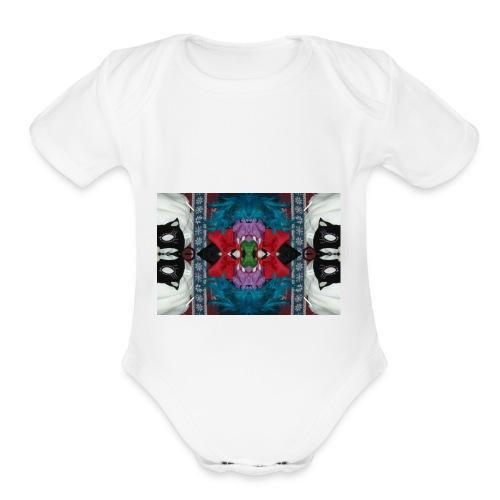 Funny yet eerie dracula hallucination - Organic Short Sleeve Baby Bodysuit
