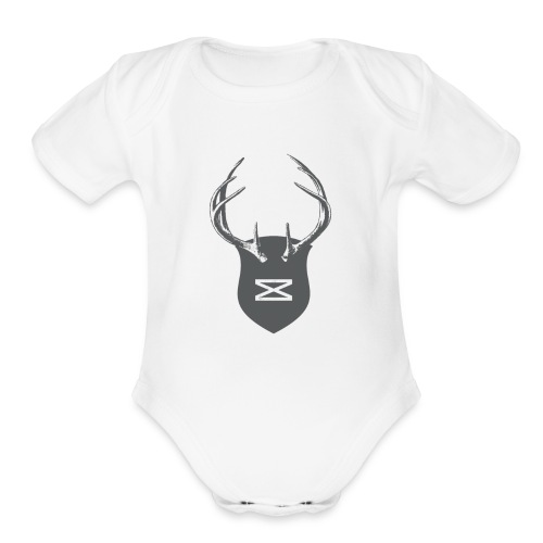 0218 mmch threadless shop stagshead gray - Organic Short Sleeve Baby Bodysuit