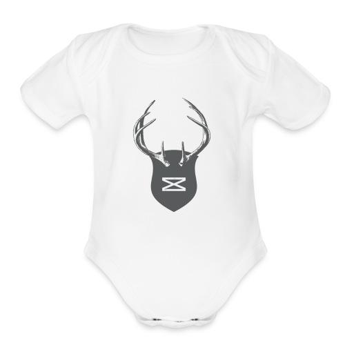 0218 mmch threadless shop stagshead gray - Organic Short Sleeve Baby Bodysuit