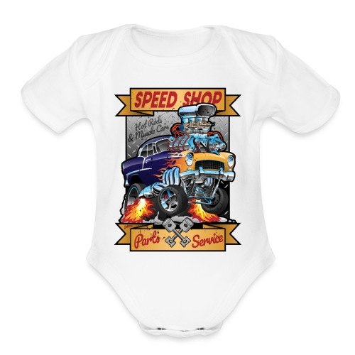 Speed Shop Hot Rod Muscle Car Cartoon Illustration - Organic Short Sleeve Baby Bodysuit