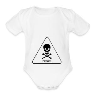 white tox symbol - Short Sleeve Baby Bodysuit