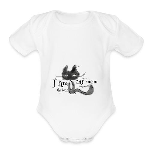Cat mom - Organic Short Sleeve Baby Bodysuit
