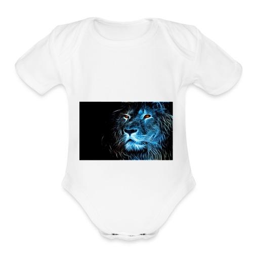 Lion Art - Organic Short Sleeve Baby Bodysuit