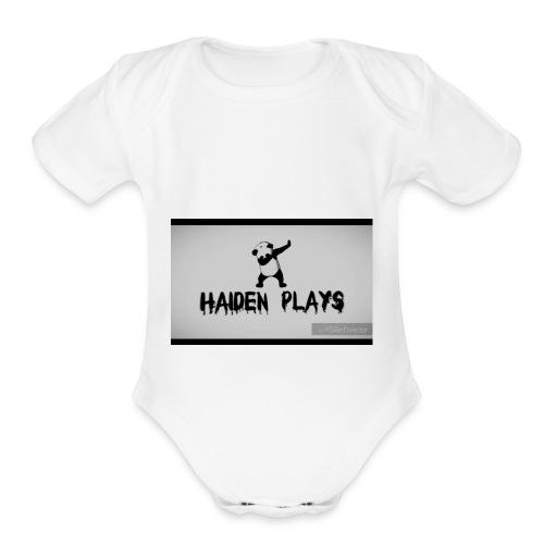 Haiden plays merch - Organic Short Sleeve Baby Bodysuit