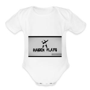 Haiden plays merch - Short Sleeve Baby Bodysuit