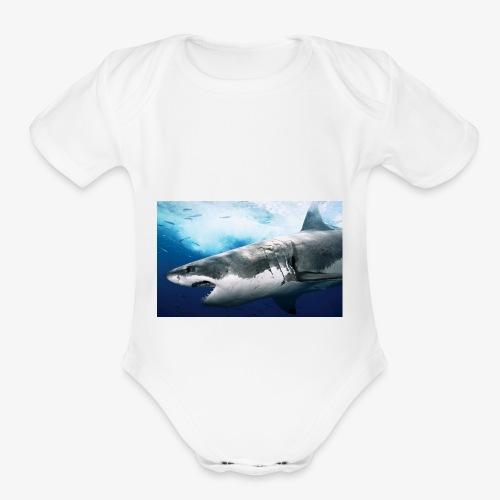 huge shark - Organic Short Sleeve Baby Bodysuit