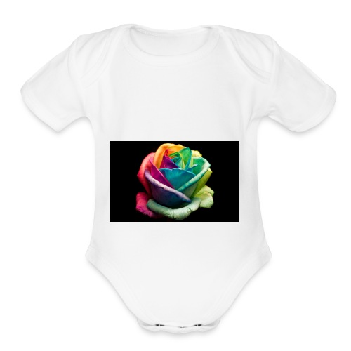 Colorful Rose Wallpapers 1 - Organic Short Sleeve Baby Bodysuit
