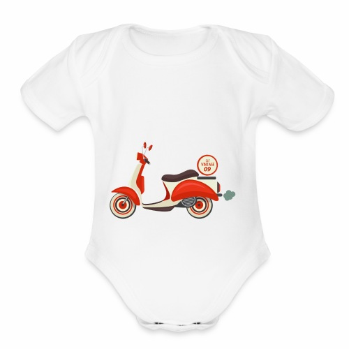 Scooter Vintage - Organic Short Sleeve Baby Bodysuit