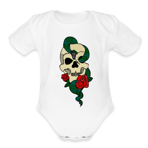 Skull and rose - Organic Short Sleeve Baby Bodysuit