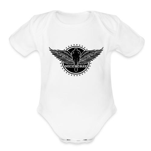 Nice Horse Crest (dark) - Organic Short Sleeve Baby Bodysuit