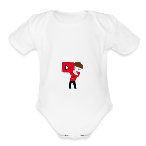 cool avater holding youtube play button - Organic Short Sleeve Baby Bodysuit