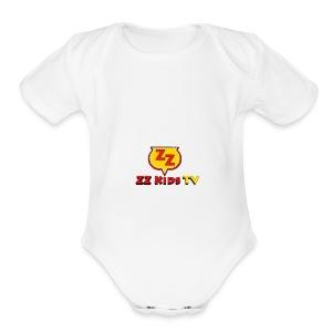 zzkidstv logo - Short Sleeve Baby Bodysuit
