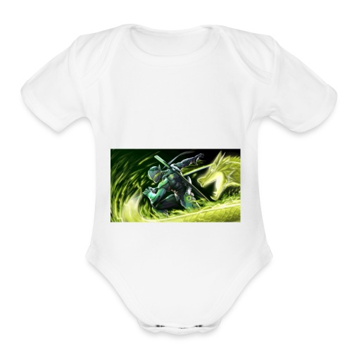 dragon power - Organic Short Sleeve Baby Bodysuit