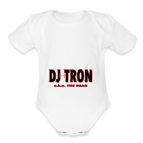 DJ tron logo 2 - Organic Short Sleeve Baby Bodysuit