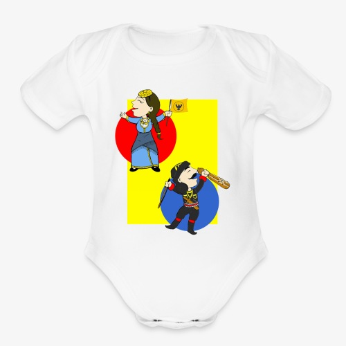 Cartoon - Pontios/lyra & Pontia/flag - Organic Short Sleeve Baby Bodysuit