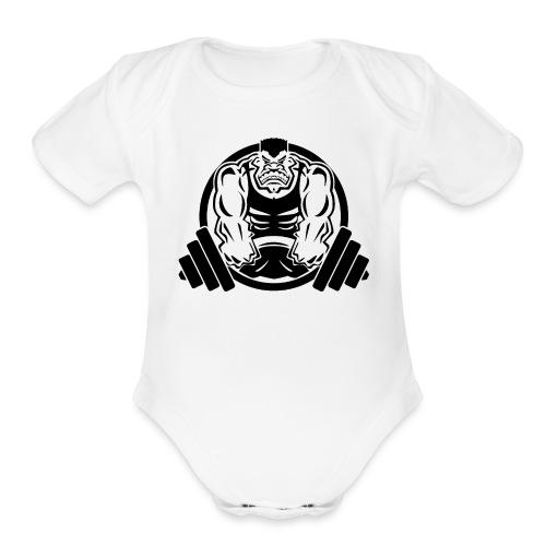 Weightlifting Muscle Fitness Gym Cartoon - Organic Short Sleeve Baby Bodysuit